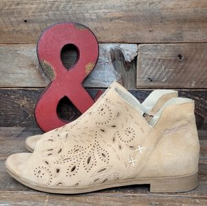 CoolWay Lazer Cut Out Leather Full Zip Booties